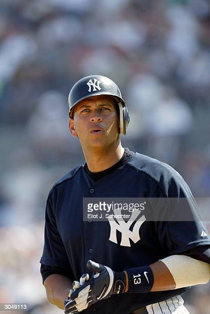 Third baseman Alex Rodriguez of the New York Yankees in action against the Toronto Blue Jays during Spring Training March 6, 2004 at Legends Field in...
