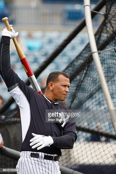 Third baseman Alex Rodriguez of the New York Yankees participates in a spring training workout on February 26 2015 at George M Steinbrenner Field in...
