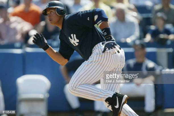 Third baseman Alex Rodriguez of the New York Yankees runs during the Spring Training game against the Toronto Blue Jays on March 6, 2004 at Legends...