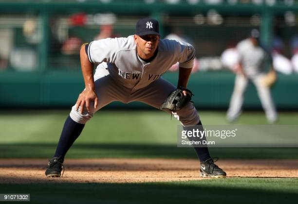 Third baseman Alex Rodriguez of the New York Yankees sets in the field in the game with the Los Angeles Angels of Anaheim on September 23 2009 at...
