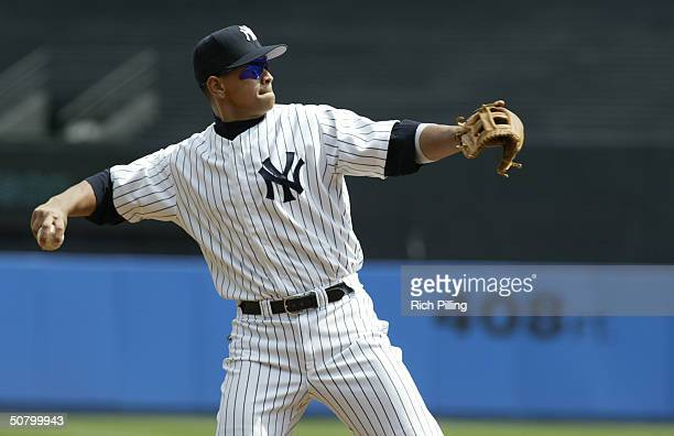 Third baseman Alex Rodriguez of the New York Yankees throws the ball during the game against the Chicago White Sox at Yankee Stadium on April 8 2004...