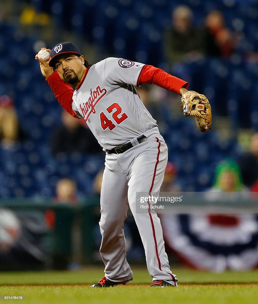 Third baseman Anthony Rendon of the Washington Nationals makes a throw to first during an MLB game against the Philadelphia Phillies at Citizens Bank Park on April 15, 2016 in Philadelphia, Pennsylvania. All players are wearing #42 in honor of Jackie Robinson.