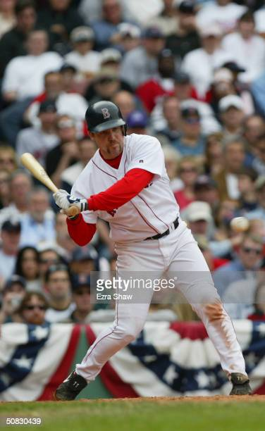 Third baseman Bill Mueller of the Boston Red Sox at bat during the game against the New York Yankees on April 17, 2004 at Fenway Park in Boston,...