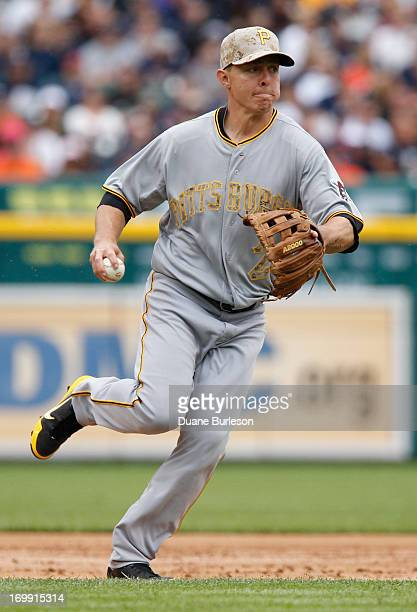 Third baseman Brandon Inge of the Pittsburgh Pirates fields a grounder hit by Victor Martinez of the Detroit Tigers in the second inning of an...