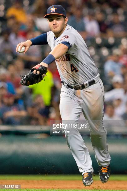 Third baseman Brandon Laird of the Houston Astros throws out Asdrubal Cabrera of the Cleveland Indians during the sixth inning at Progressive Field...