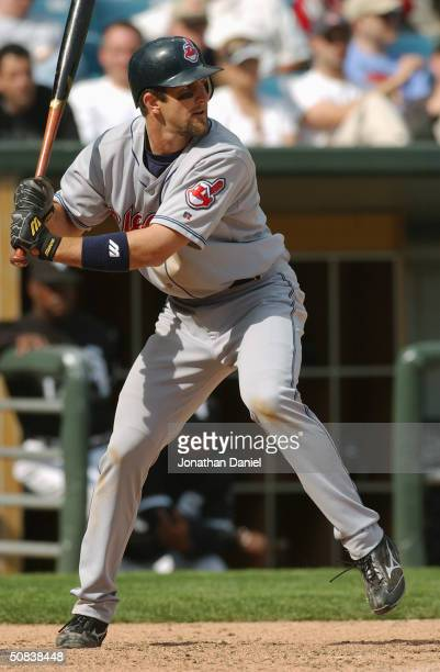 Third baseman Casey Blake of the Cleveland Indians at bat during the game against the Chicago White Sox on April 28, 2004 at U.S. Cellular Field in...
