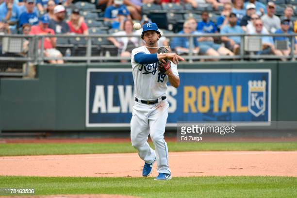 Third baseman Cheslor Cuthbert of the Kansas City Royals throws to first against the Minnesota Twins at Kauffman Stadium on September 29, 2019 in...