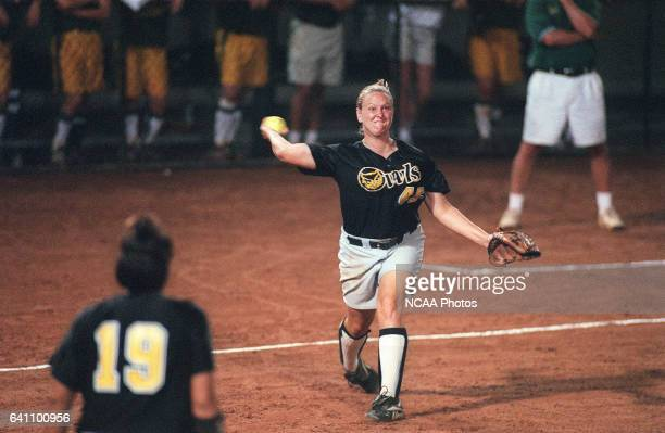 Third baseman Christine Hochdorfer of Kennesaw State University makes an out with a throw to first baseman Heather Birch against North Dakota State...