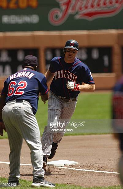 Third baseman Corey Koskie of the Minnesota Twins rounds third during the interleague game against the Milwaukee Brewers on June 22 2003 at Miller...