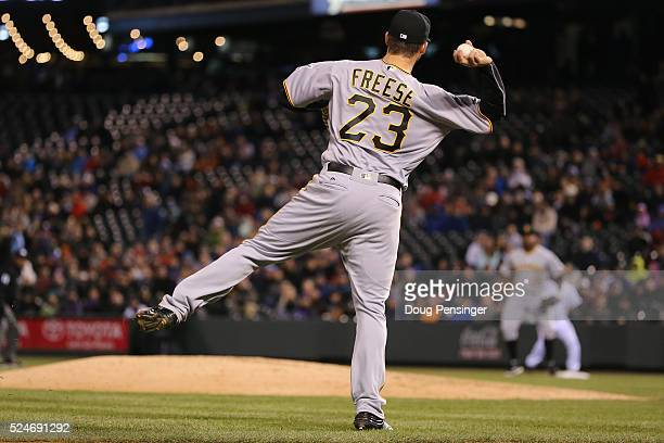 Third baseman David Freese of the Pittsburgh Pirates is unable to throw out Christian Bergman of the Colorado Rockies on a soft ground ball in the...