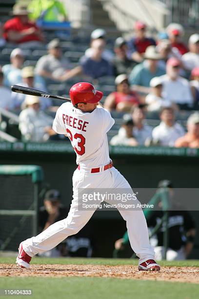 Third baseman David Freese of the St Louis Cardinals bats against the Florida Marlins at Roger Dean Stadium on February 28 2011 in Jupiter Florida