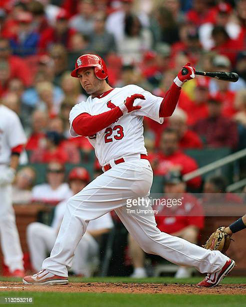 Third baseman David Freese of the St Louis Cardinals bats against the San Diego Padres at Busch Stadium on April 2 2011 in St Louis Missouri The San...