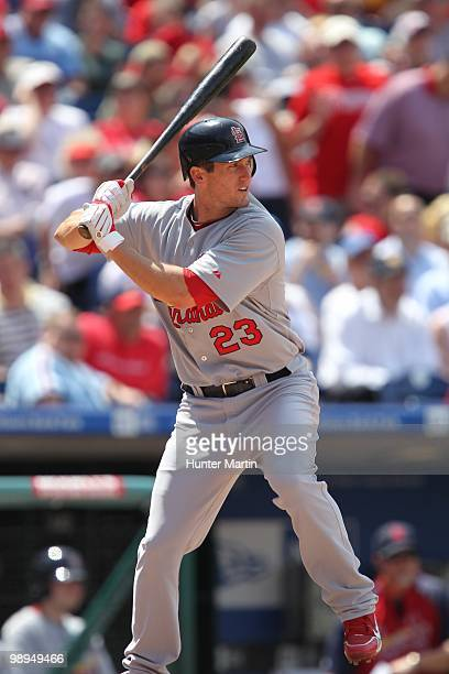 Third baseman David Freese of the St Louis Cardinals bats during a game against the Philadelphia Phillies at Citizens Bank Park on May 6 2010 in...