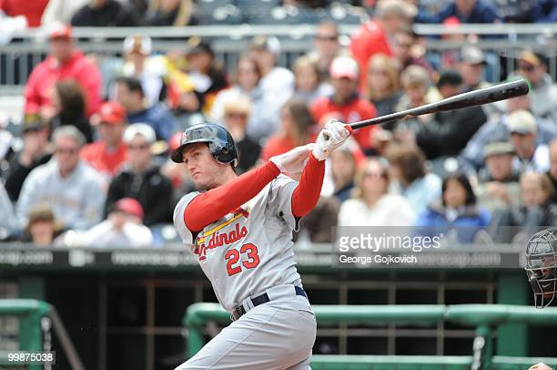 Third baseman David Freese of the St Louis Cardinals bats during a game against the Pittsburgh Pirates at PNC Park on May 9 2010 in Pittsburgh...