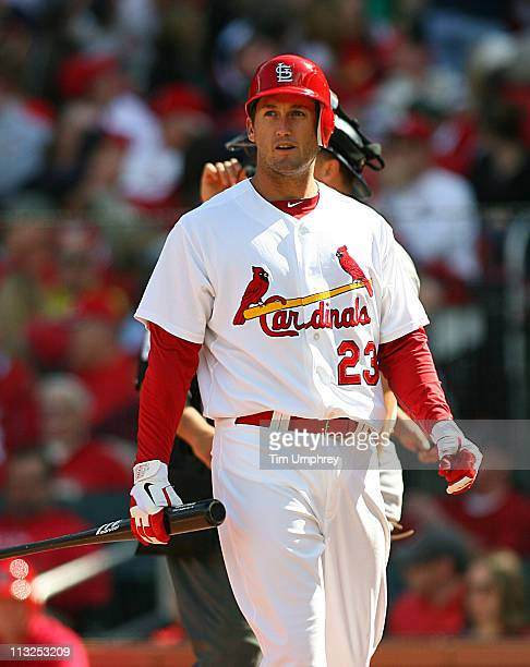 Third baseman David Freese of the St Louis Cardinals gets ready to bat against the San Diego Padres at Busch Stadium on April 2 2011 in St Louis...