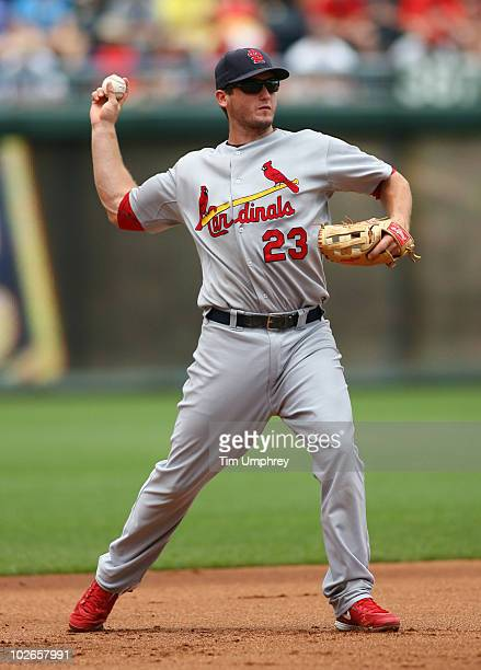 Third baseman David Freese of the St Louis Cardinals throws to first base in a game against the Kansas City Royals on June 27 2010 at Kauffman...