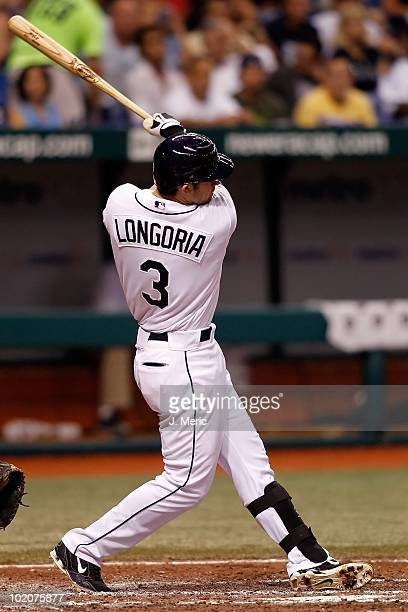 Third baseman Evan Longoria of the Tampa Bay Rays fouls off a pitch against the Toronto Blue Jays during the game at Tropicana Field on June 9 2010...