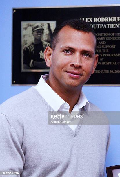 Third baseman for the New York Yankees Alex Rodriguez attends the Alex Rodriguez Pediatric Outpatient Center dedication ceremony at BronxLebanon...