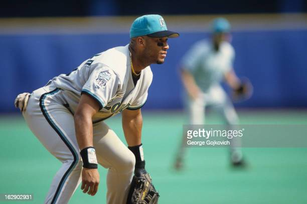 Third baseman Gary Sheffield of the Florida Marlins looks on from the field during a Major League Baseball game against the Pittsburgh Pirates at...