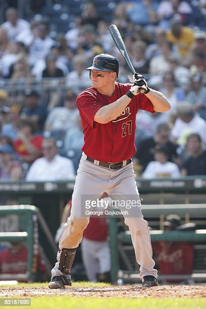 Third baseman Geoff Blum of the Houston Astros bats against the Pittsburgh Pirates at PNC Park on September 21, 2008 in Pittsburgh, Pennsylvania. The...