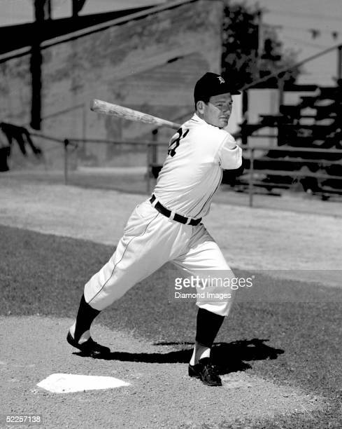 Third baseman George Kell of the Detroit Tigers poses for an action portrai during 1947 Spring Training in Lakeland Florida