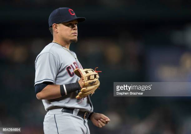 Third baseman Giovanny Urshela of the Cleveland Indians stands on the field during a game against the Seattle Mariners at Safeco Field on September...
