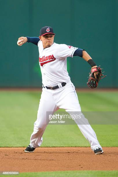 Third baseman Giovanny Urshela of the Cleveland Indians throws out Mike Moustakas of the Kansas City Royals during the first inning at Progressive...