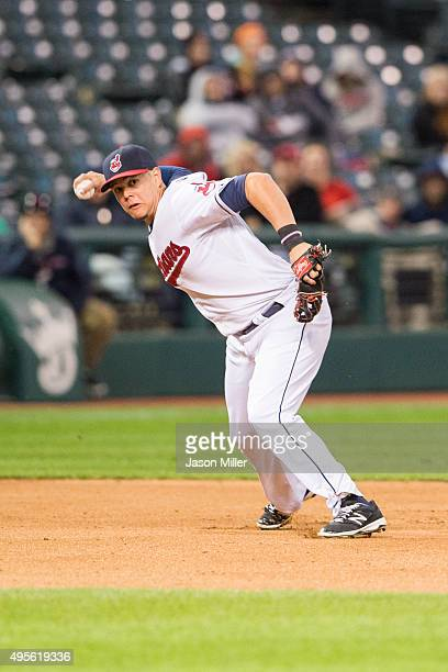 Third baseman Giovanny Urshela of the Cleveland Indians throws out Miguel Sano of the Minnesota Twins at first during the fourth inning at...