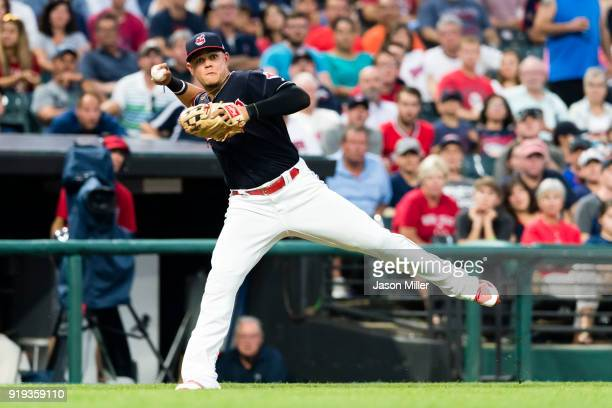 Third baseman Giovanny Urshela of the Cleveland Indians throws out Christian Vazquez of the Boston Red Sox at first during the fourth inning at...