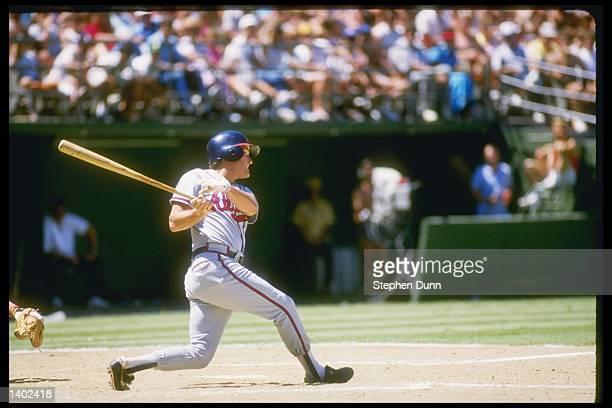 Third baseman Graig Nettles of the Atlanta Braves swings the bat