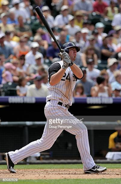 Third baseman Ian Stewart of the Colorado Rockies takes an at bat against the Pittsburgh Pirates at Coors Field on July 20 2008 in Denver Colorado...