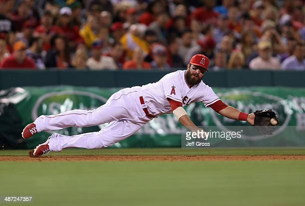 Third baseman Ian Stewart of the Los Angeles Angels of Anaheim makes a diving stop on a ball hit by Carlos Santana of the Cleveland Indians but isn't...