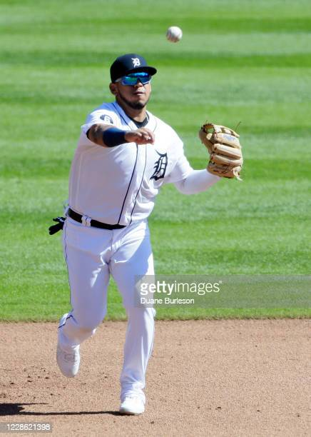 Third baseman Isaac Paredes of the Detroit Tigers throws out Jose Ramirez of the Cleveland Indians at first base during the fourth inning at Comerica...