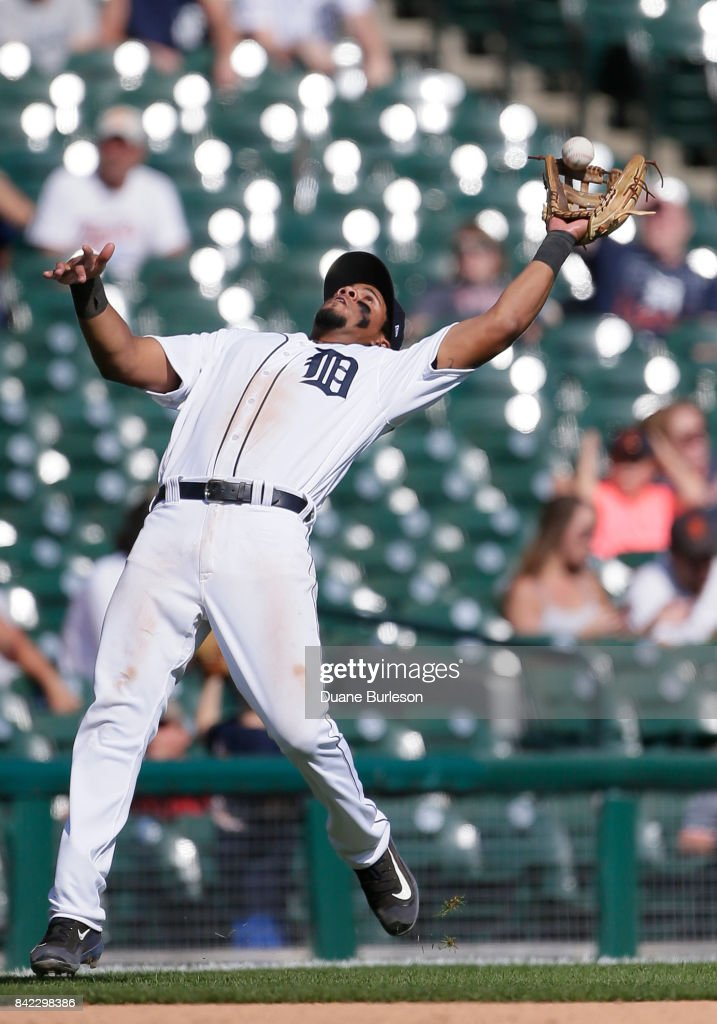 Third baseman Jeimer Candelario #46 of the Detroit Tigers catches a fly ball off the bat of Francisco Mejia of the Cleveland Indians during the ninth inning at Comerica Park on September 3, 2017 in Detroit, Michigan. The Indians defeated the Tigers 11-1.