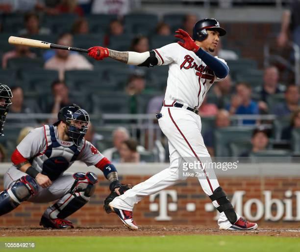 Third baseman Johan Camargo of the Atlanta Braves bats during the game against the Boston Red Sox at SunTrust Park on September 4 2018 in Atlanta...