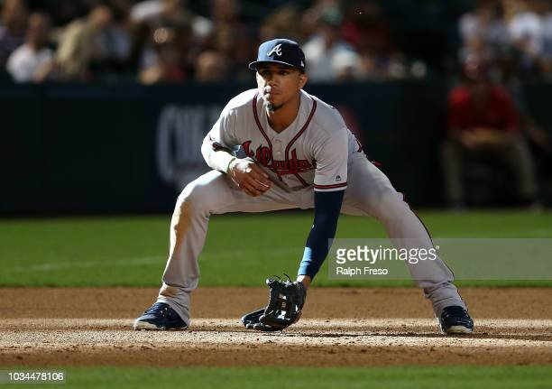 Third baseman Johan Camargo of the Atlanta Braves during the seventh inning of an MLB game against the Arizona Diamondbacks at Chase Field on...