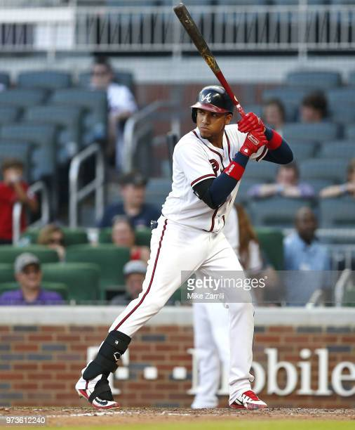 Third baseman Johan Camargo of the Atlanta Braves waits in the batter's box for a pitch during the game against the Washington Nationals at SunTrust...
