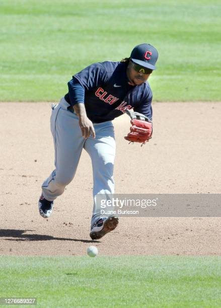 Third baseman Jose Ramirez of the Cleveland Indians fields a grounder hit by Jorge Bonifacio of the Detroit Tigers during the fourth inning at...