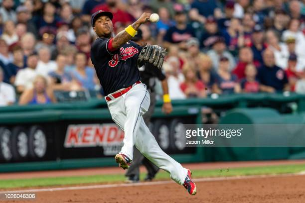 Third baseman Jose Ramirez of the Cleveland Indians throws out Joey Wendle of the Tampa Bay Rays at first to end the top of the third inning at...