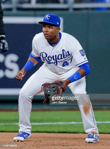 Third baseman Kelvin Gutierrez of the Kansas City Royals in the ninth inning of his major league debut during the game against the Los Angeles Angels...