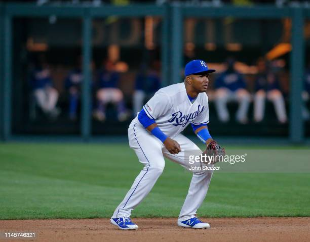 Third baseman Kelvin Gutierrez of the Kansas City Royals in the eighth inning of his major league debut during the game against the Los Angeles...