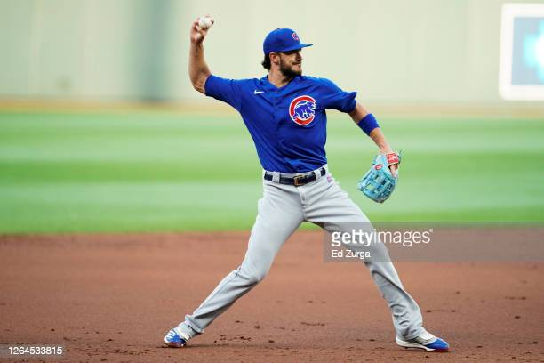 Third baseman Kris Bryant of the Chicago Cubs in action against the Kansas City Royals at Kauffman Stadium on August 5, 2020 in Kansas City, Missouri.