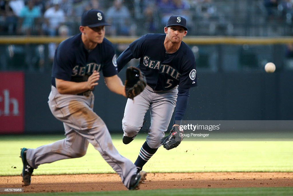 Third baseman Kyle Seager #15 of the Seattle Mariners and shortstop Brad Miller #5 of the Seattle Mariners pursue a ground ball against the Colorado Rockies during interleague play at Coors Field on August 4, 2015 in Denver, Colorado. The Mariners defeated the Rockies 10-4.