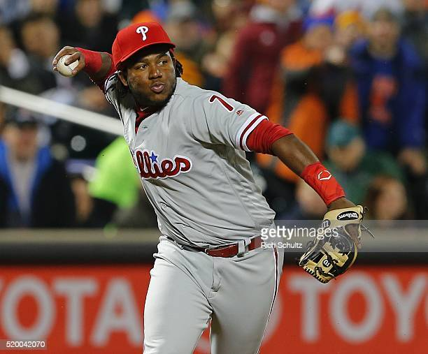 Third baseman Maikel Franco the Philadelphia Phillies makes a throw to first base to get Bartolo Colon the New York Mets during the second inning of...