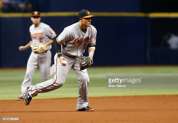 Third baseman Manny Machado of the Baltimore Orioles fields the ground out by Steven Souza Jr of the Tampa Bay Rays to end the second inning of a...