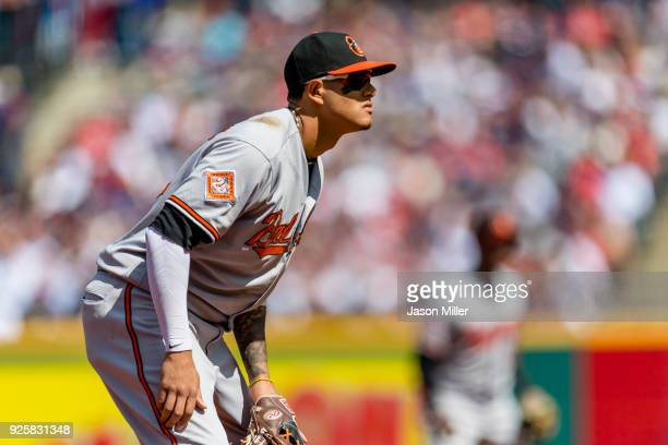 Third baseman Manny Machado of the Baltimore Orioles in his ready stance during the second inning against the Cleveland Indians at Progressive Field...