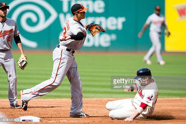 Third baseman Manny Machado of the Baltimore Orioles turns the double play on a ground ball by Carlos Santana as Jason Kipnis of the Cleveland...