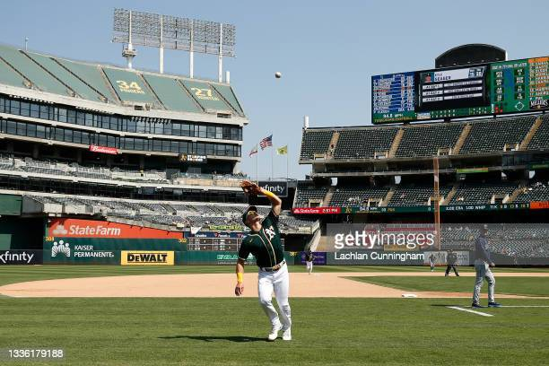 Third baseman Matt Chapman of the Oakland Athletics catches a pop-up in foul territory by Kyle Seager of the Seattle Mariners in the top of the...