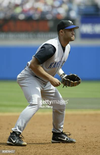 Third baseman Mendy Lopez of the Kansas City Royals in the field during the game against the New York Yankees at Yankee Stadium on May 1 2004 in the...