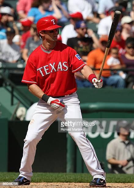 Third baseman Michael Young of the Texas Rangers at bat on April 19 2009 at Rangers Ballpark in Arlington Texas